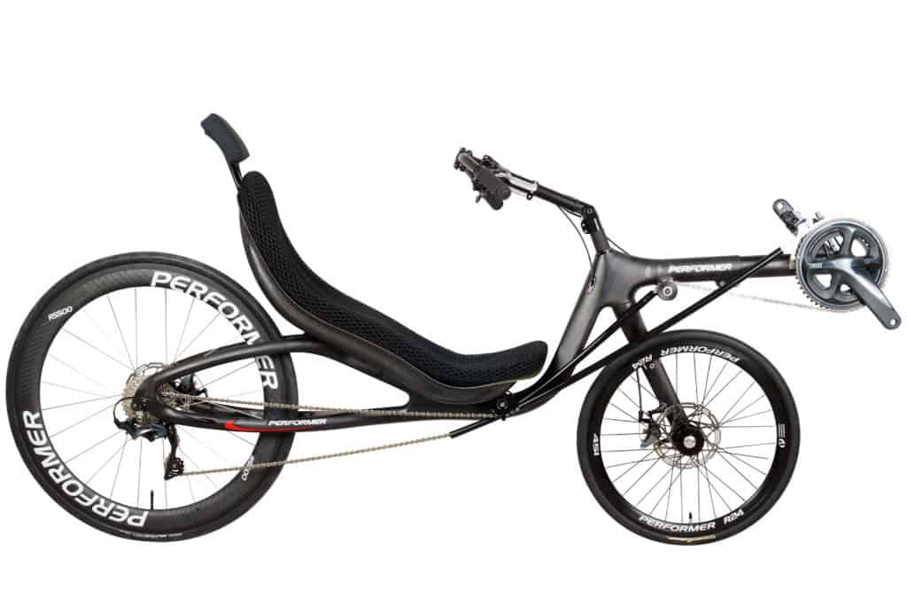carbon recumbent bike full view