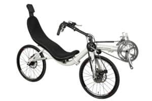 Recumbent Bike Folding Front Wheel Drive view