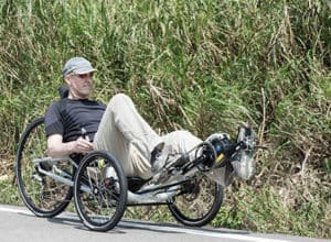 riding electric recumbent trike