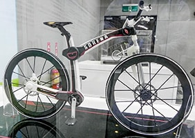 prototype bike with single fork and single chain stay