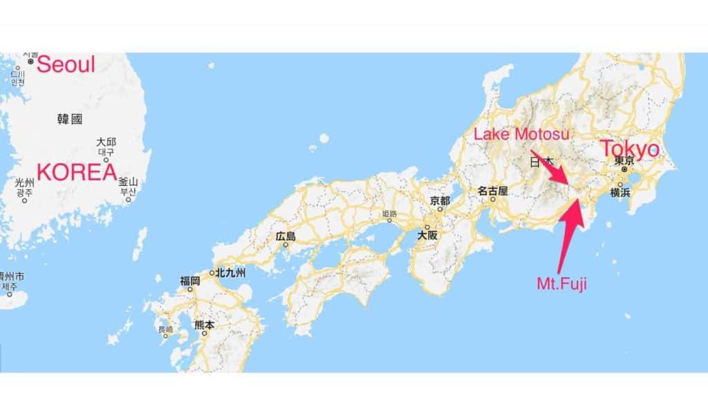 east asia japan lake motosu mt fuji location