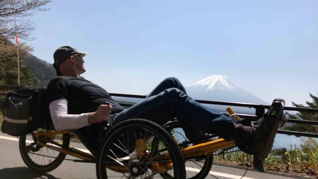 recumbent trike rider looking at mt fuji