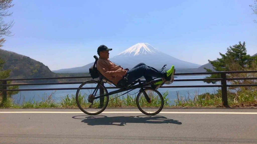 george performer ceo cycling past mt fuji