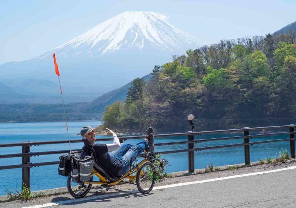 recumbent trike by the lake looking at mt fuji