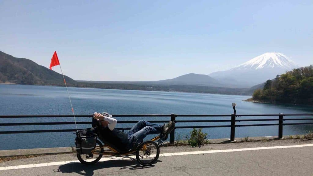 relaxing on a recumbent trike looking at mt fuji